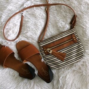A+ by ALDO black+ivory striped small crossbody
