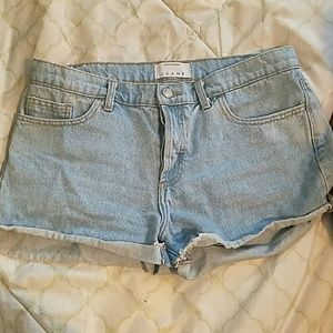 American Apparel Mid waist jean shorts