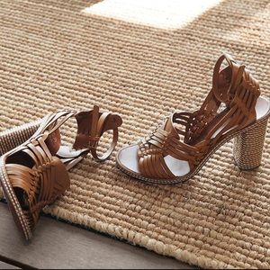 Tory Burch Woven Ankle Strap Heels Sandals NWOB