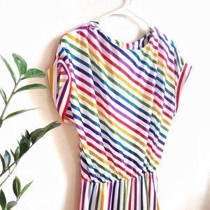 VTG🌈80s Rainbow Cap Sleeve Dress!