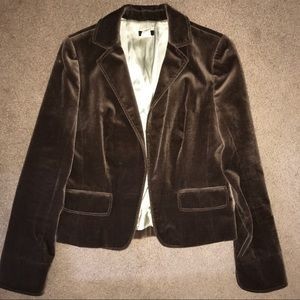 Cocoa Brown Velvet Lined Blazer w/ Front Pockets