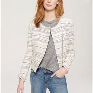 Ann Taylor Striped Tweed Ivory Black Moto Jacket