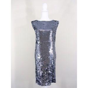 Alice + Olivia Silver Sequin Dress Medium