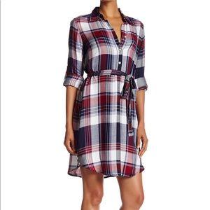 Max Studio Plaid Roll Up Sleeve Dress S