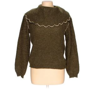Olive Green Sweater With Collar Detailing