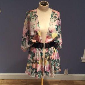 Romantic Kimono Style Rose Print Sheer Top Size M