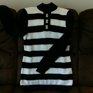 Ralph Lauren black and white striped tunic sweater