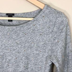 J.Crew grey embellished long sleeve tee, size XS