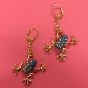New Betsey Johnson blue frog drop earrings