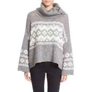 🆕NWOT Free People Fair Isle Split Neck Sweater
