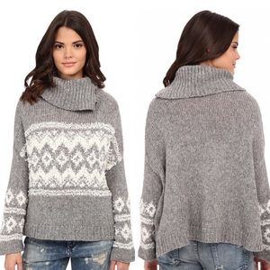 🆕NWOT Free People Fair Isle Split Neck Sweater