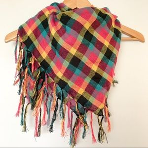 Checkered boho fringe scarf