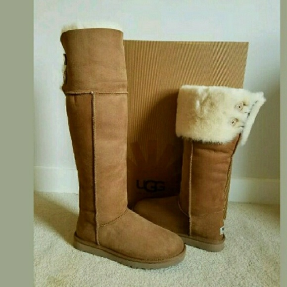 31c61b1f388 Ugg 9 bailey button over the knee chestnut boots NWT