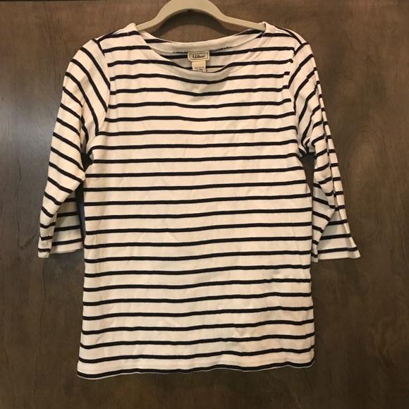 3c8871263cf L.L. Bean Tops - L.L. BEAN Womens Navy Blue White Striped 3 4 Top L