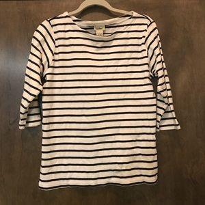 L.L. BEAN Womens Navy Blue White Striped 3/4 Top L