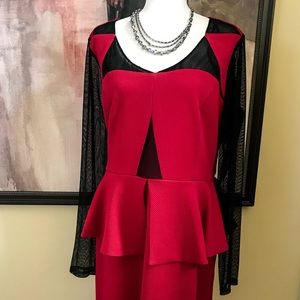 🎉Red Hot Red Holiday Party Peplum Dress with Mesh