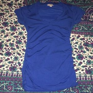 Bright Blue GUESS V-neck with ruched sides