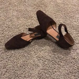 J. Crew Brown leather Suede Pointed toe flat