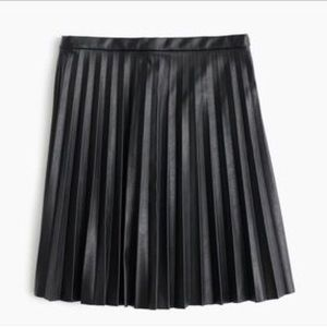 Black faux leather J Crew pleated skirt