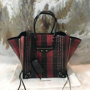 Balenciaga A5 Python Plaid Papier Zip Tote Bag