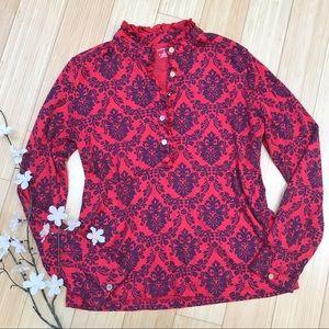LANDS END red blue filagree print shirt, S.