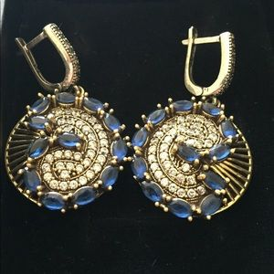 Jewelry - Sapphire And Topaz Sterling Silver Earrings