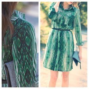 Derek Lam Green Print Shirt Dress.  Size XL