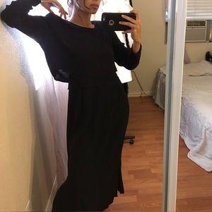 Vintage Black Petite Long Sleeve Maxi Dress