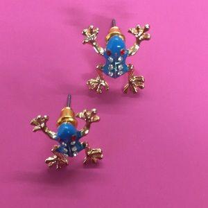 New Betsey Johnson blue frog stud earrings