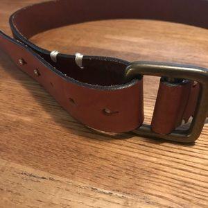Leather tab belt