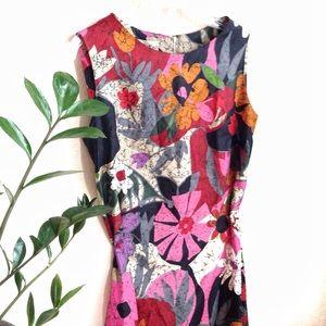 VTG🌺 Hawaiian 60s Psychedelic Floral Sheath Dress