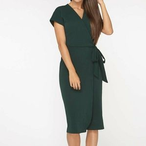 Dorothy Perkins green wrap dress size 16
