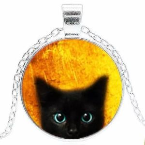 🎁 Peeking Cat Cabochon Necklace Silver or Black