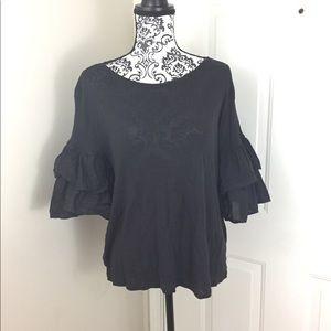 Ruffled puffy sleeve blouse