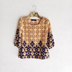 Patterned 3/4 Sleeve Top