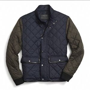 COACH olive & navy color block quilted jacket coat