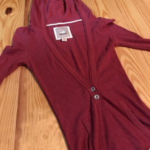 🍍Hollister Hooded 3/4 Burgundy Ribbed Tee XS