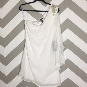 JS Collections One Shoulder Chiffon Dress 10 NWT