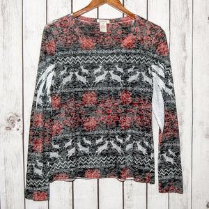 SUNDANCE Long Sleeve Pullover Shirt Reindeer Print