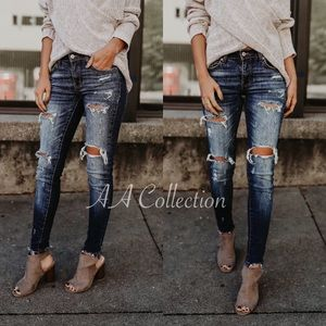 Distressed skinny denim jeans 0-15