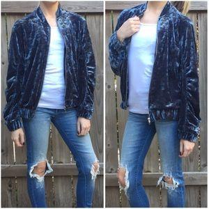 Jackets & Blazers - Smokey Blue Velvet Bomber