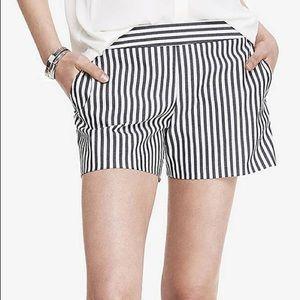 Express Black and White Pinstripe Shorts