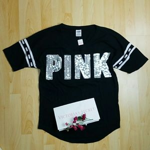 Pink Victoria's secret shirt - bling PINK NWT