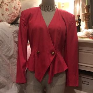 Vintage Hot Pink tailored jacket with gold buttons