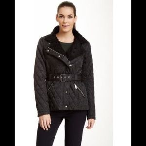 Vince Camuto Black Puffer Coat with Fur Collar