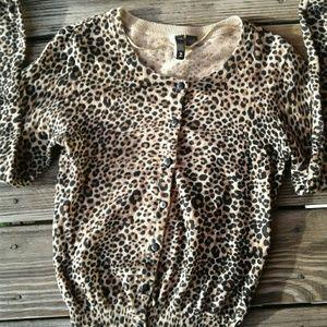H&M cheetah print cardigan