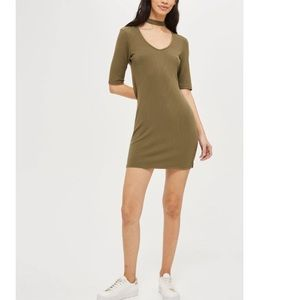 NWT Topshop Ribbed Choker Minidress