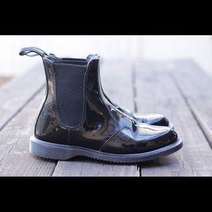Black Patent Flora Chelsea Dr Marten Boots