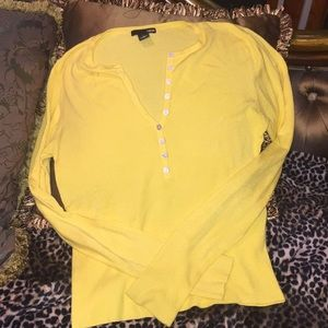 H & M yellow deep V knit top