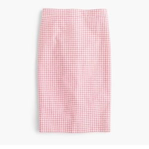 J. Crew No. 2 pencil skirt pink gingham 6